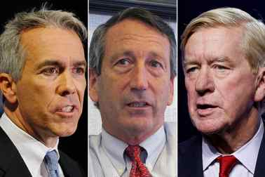 Republican presidential candidates, from left, Joe Wash, Mark Sanford and Bill Weld. (Associated Press photos/AP photos)