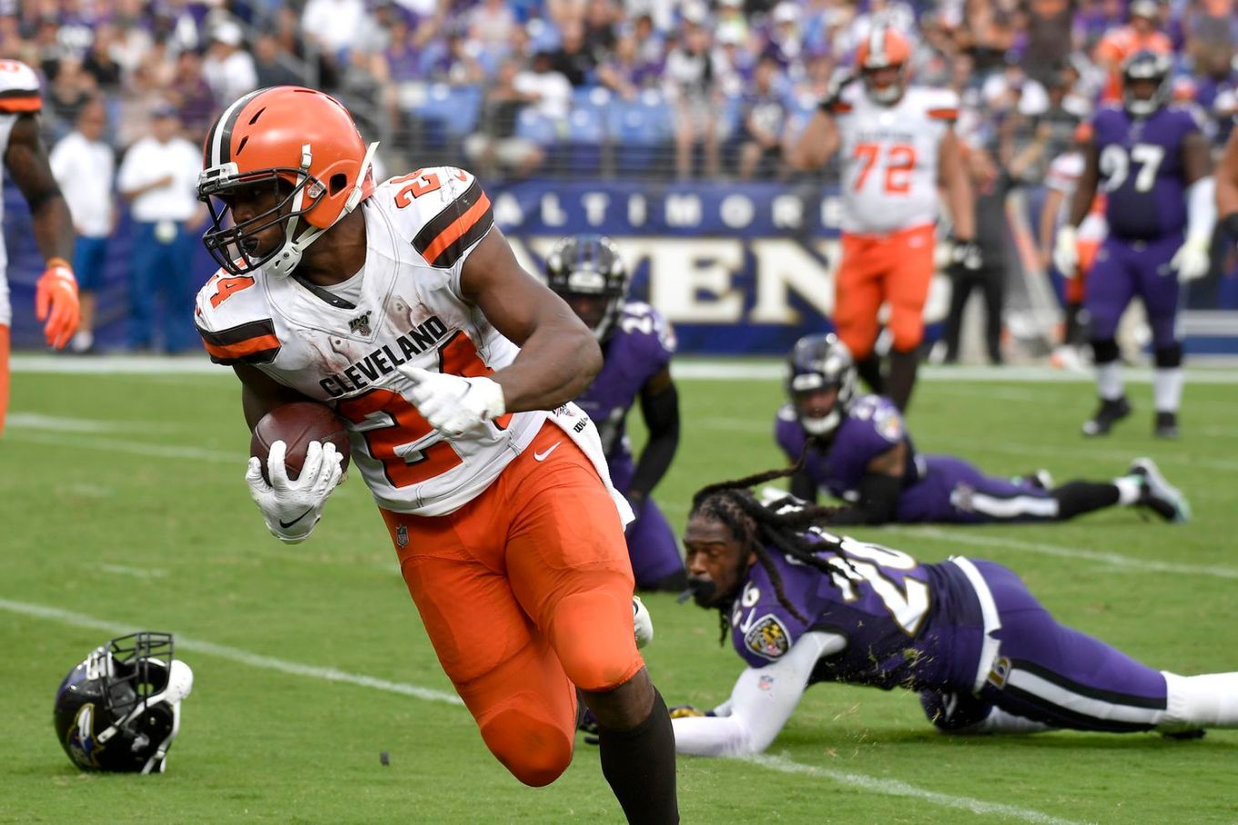 Image result for browns vs ravens nick chubb