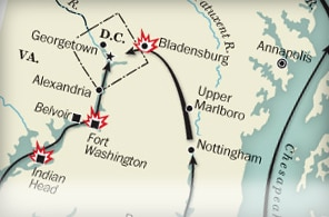 Map of significant War of 1812 sites.