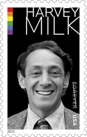 This undated handout image provided by the US Postal Service shows the commemorative forever stamp featuring gay-rights activist Harvey Milk. (AP Photo/USPS)