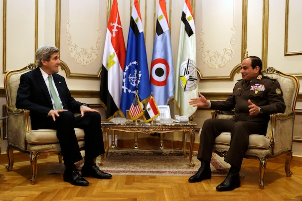 U.S. Secretary of State John Kerry, left, meets with Egyptian Defense Minister Abdel Fattah al-Sisi at the Ministry of Defense in Cairo, on Sunday, March 3, 2013. Kerry is wrapping up a visit to Egypt with an appeal for unity and reform to the country's president and military chief.