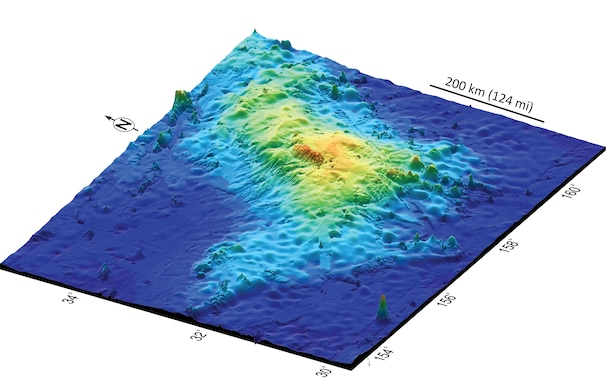 A perspective 3D plot of the topography of the largest single volcano on Earth, Tamu Massif.
