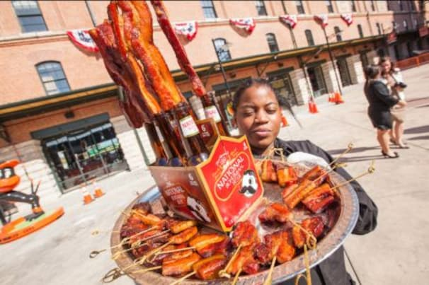 Image of bacon served on a stick at Orioles Park in Baltimore