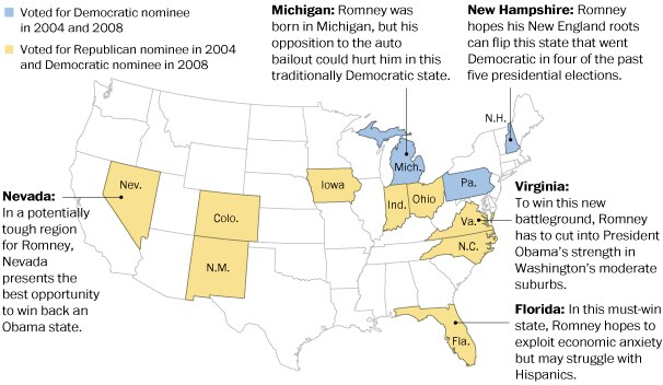 Twelve states the Romney campaign is eyeing