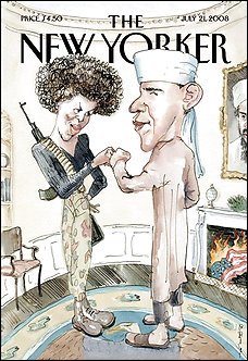 Barack and Michelle on the cover of the New Yorker