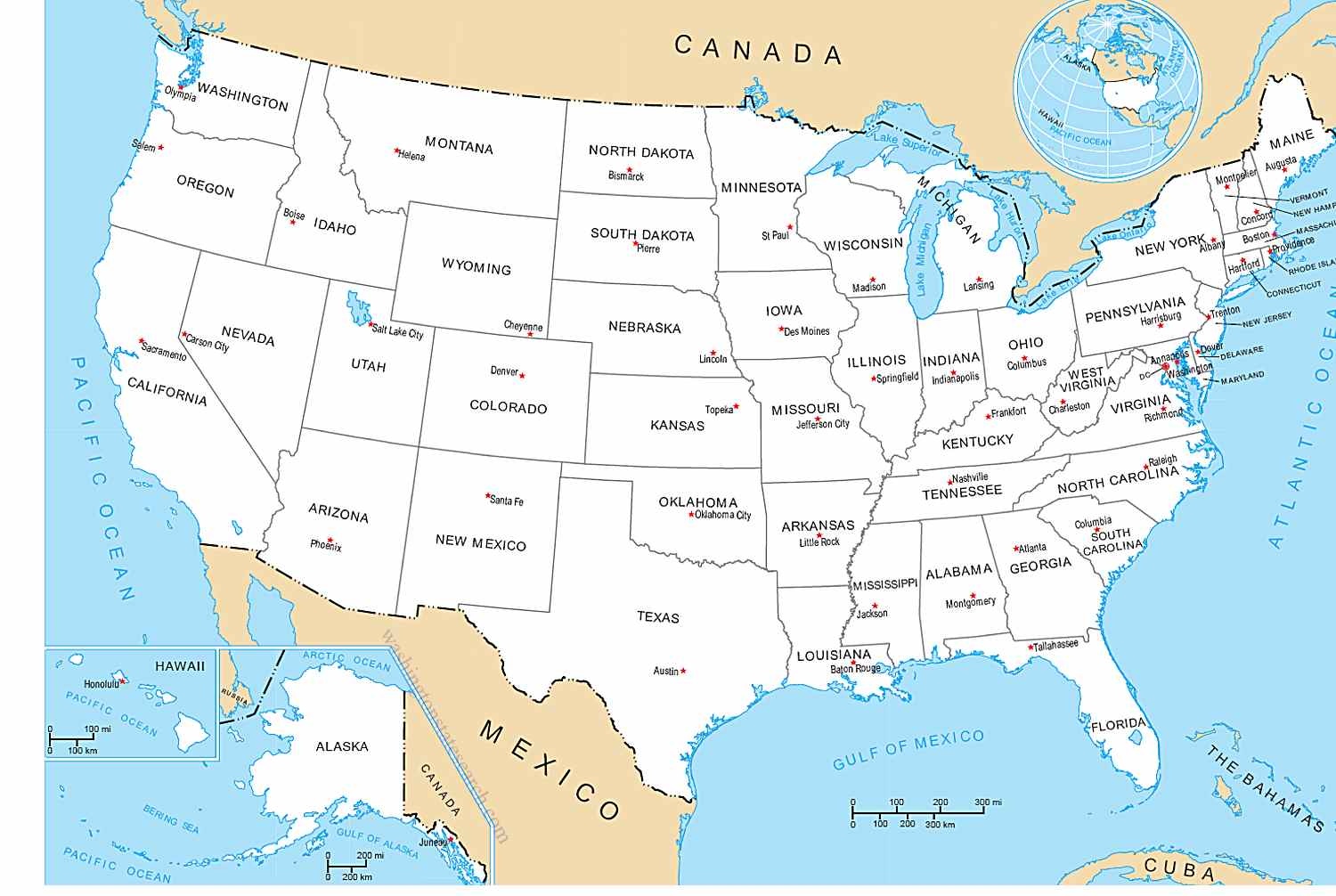 United States Map With All States Amp Capital Cities