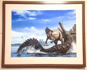 'Suchomimus and Sarcosuchus' as illustrated by Raul Martin