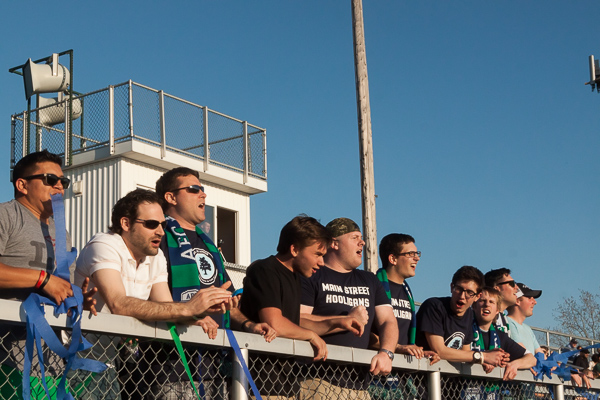 The Main Street Hooligans supported their hometown team at the AFC Ann Arbor season opener on Friday, May 1 at Hollway Field. EJ Stout | Washtenaw Voice