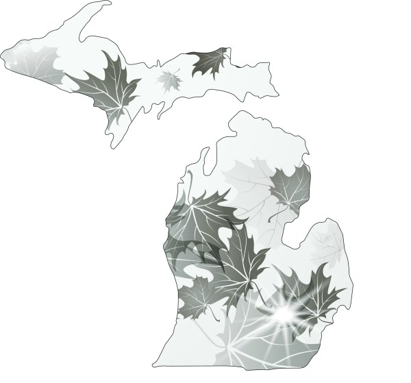Michigan state shape covered in leaves