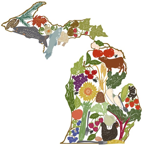 Food placed in the shape of the state of Michigan