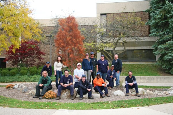 Becoming a part of Tree Campus USA in 2016, college and community participants planted a tree on the south side of the Technical Industrial building during Free College Day. Tree planting is one of the five annual standards that need to be met in order to obtain the accommodation. Back row: Mike Hurst, Holly Herman, John Bruckner, Donna Reincke, Ron Schulz, Kelly Milligan, Ricky Carrington, Randy Ferry. Front row: Greg Weathers, Rich Harden, Tyler Douglas, Derek Nelson, Jeremy Podolak. See coverage of Tree Campus USA on A2.