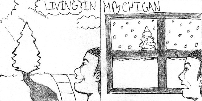 A person is smiling and admiring the sunshine in the left panel, the right panel shows the person grimacing as they look outside their window to see a snowy winter scene