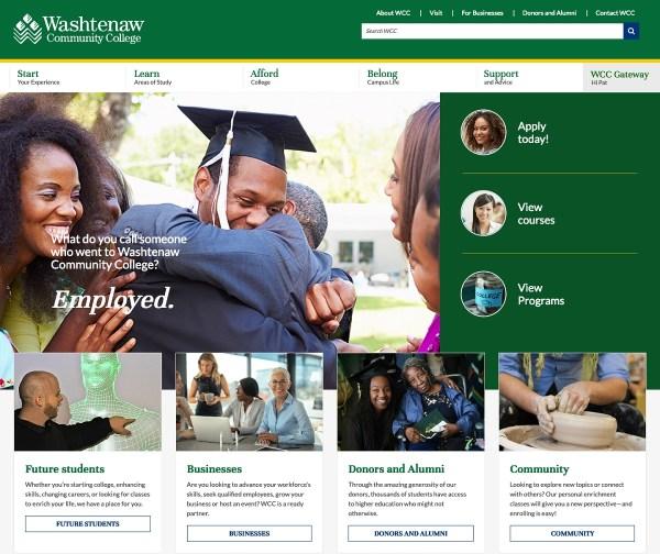 A screenshot of the new WCC website. Nicholas Ketchum | Washtenaw Voice