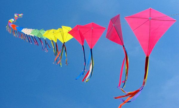 Kites in the clear blue sky. Washtenaw Voice Files