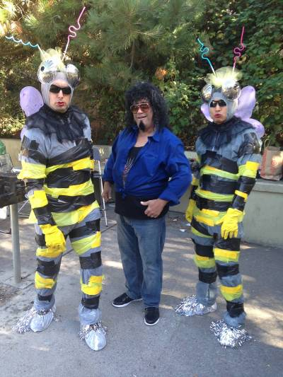 Wasp-Men production designer Van Dyke Roth, who doesn't really look like that, with his Fake Wasp-Men, John Paul Montgomery and Henry Lee.