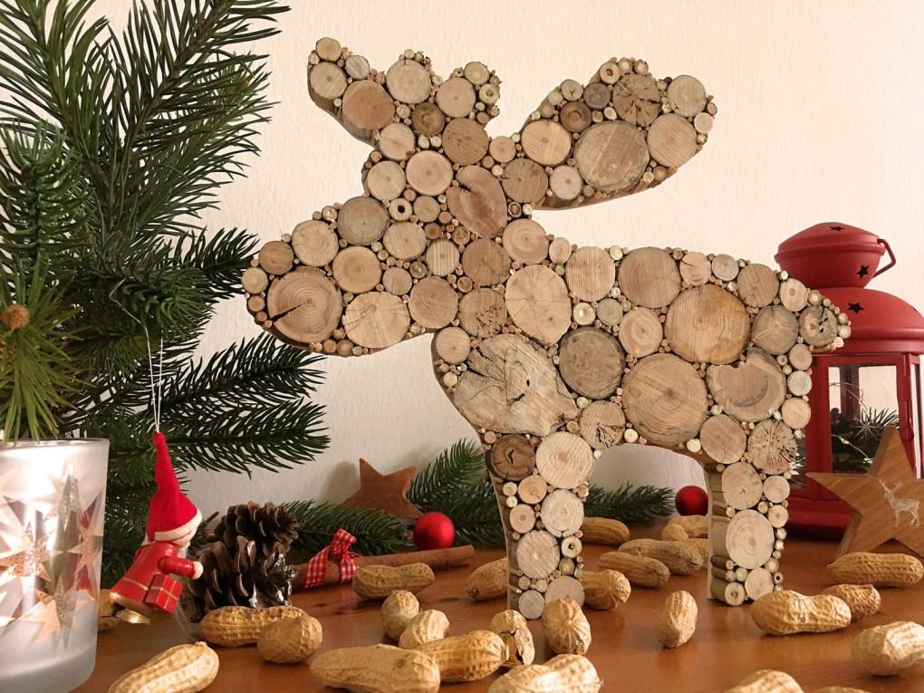 Weihnachtsdeko Elch aus Treibholzscheiben
