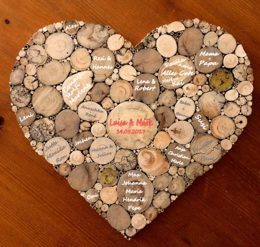 Gästebuch Hochzeit Herz mit Unterschriften