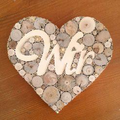 Herz Holz mit Schriftzug WIR