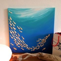 Fischschwarm Collage Holz und Acryl