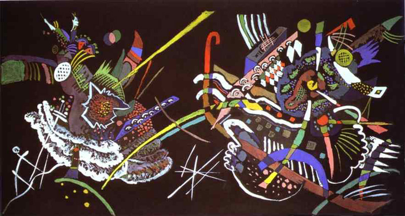 Painter Wassily Kandinsky. Painting. Draft for Mural In The Unjuried Art Show, Wall B. 1922 year
