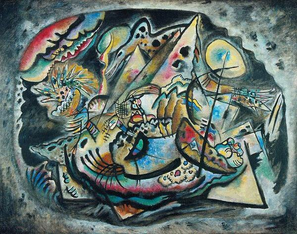 Painter Wassily Kandinsky. Painting. Grey Oval. 1917 year
