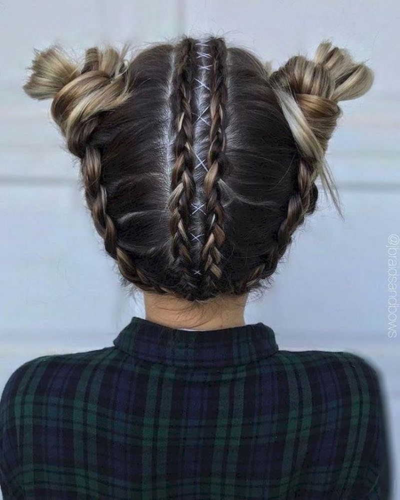 Dutch braid hairstyles with two rolls