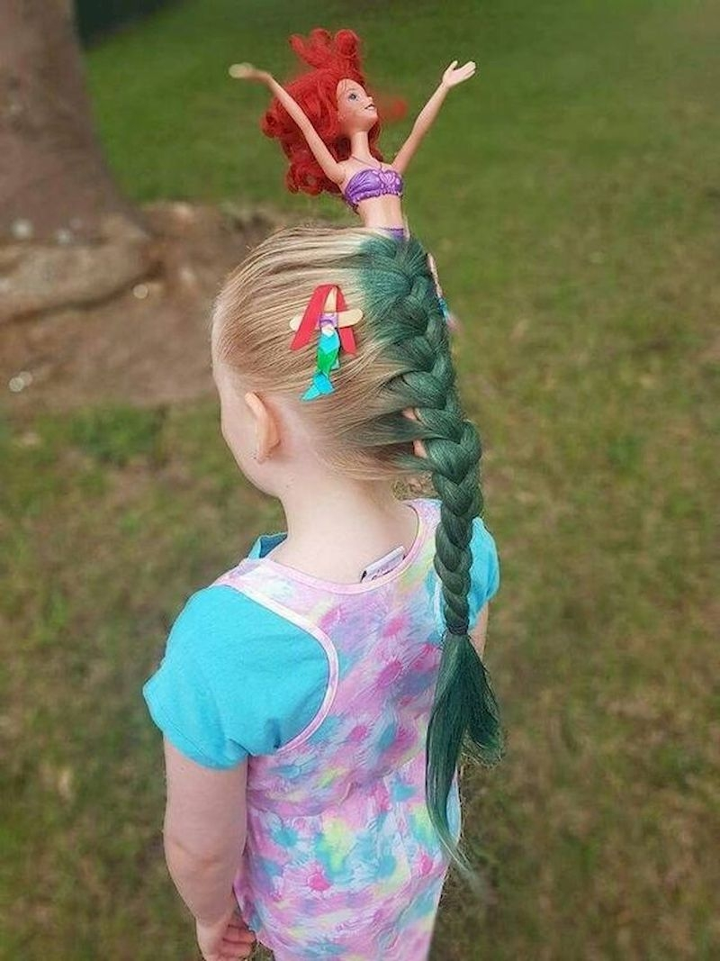 Braided hairstyles with barbie and just have a mermaid tail
