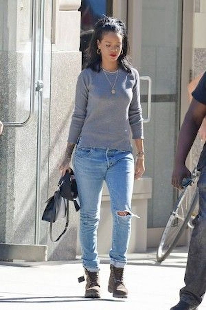 Casual clothes rihanna with grey sweater and jeans