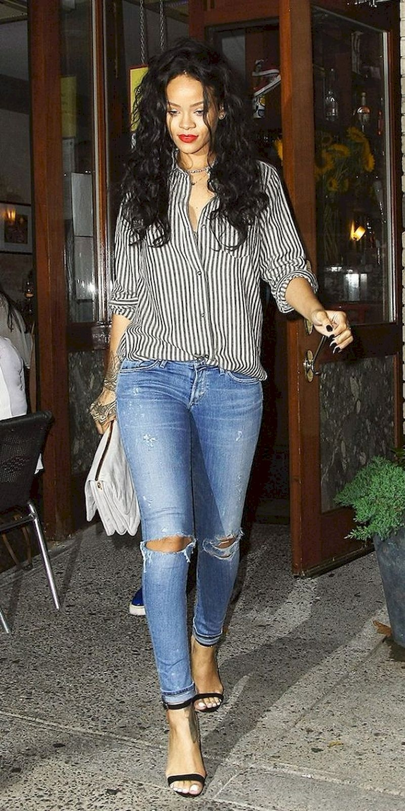 Casual clothes rihanna with striped shirts and high heels