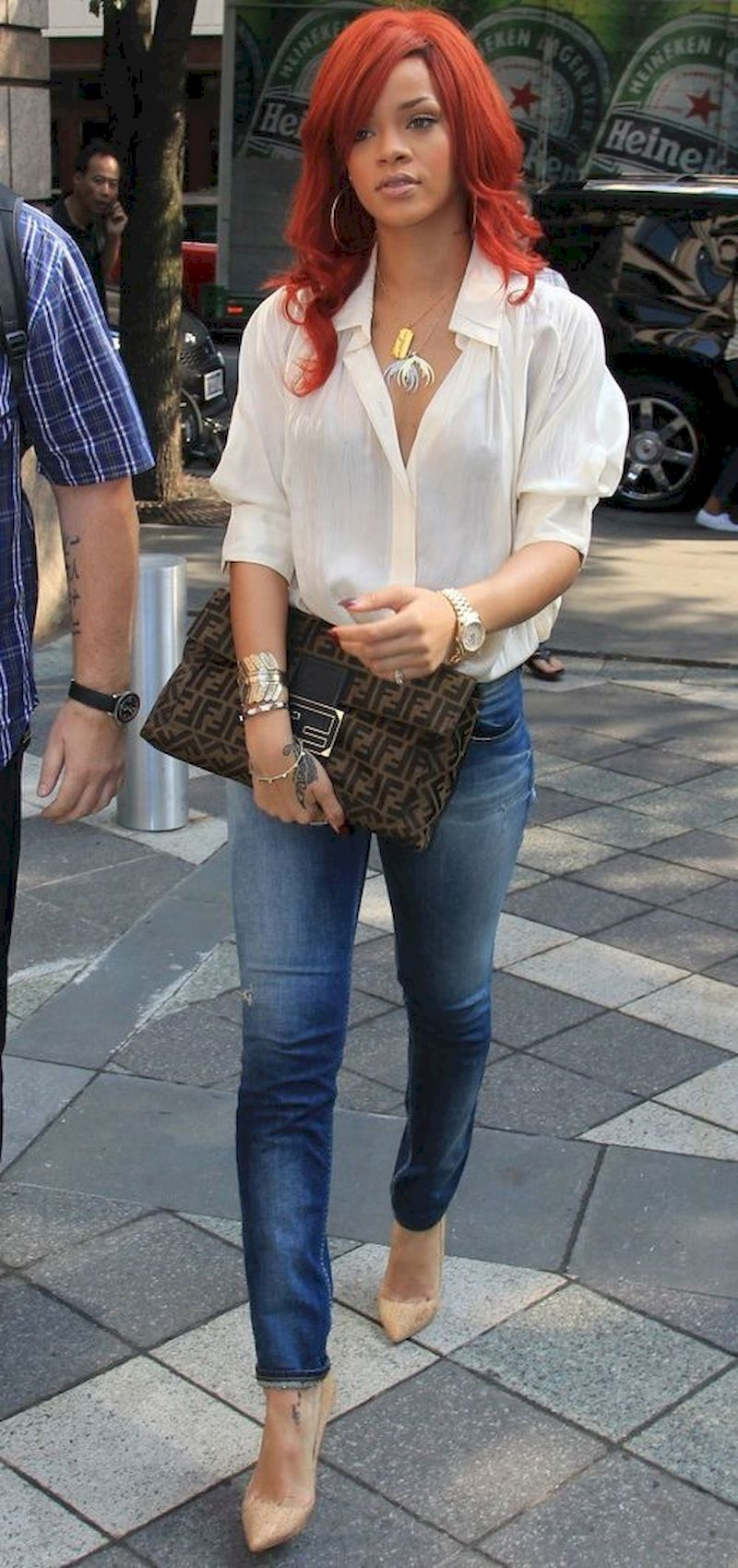 Casual clothes rihanna with white blouse, jeans, nude heels