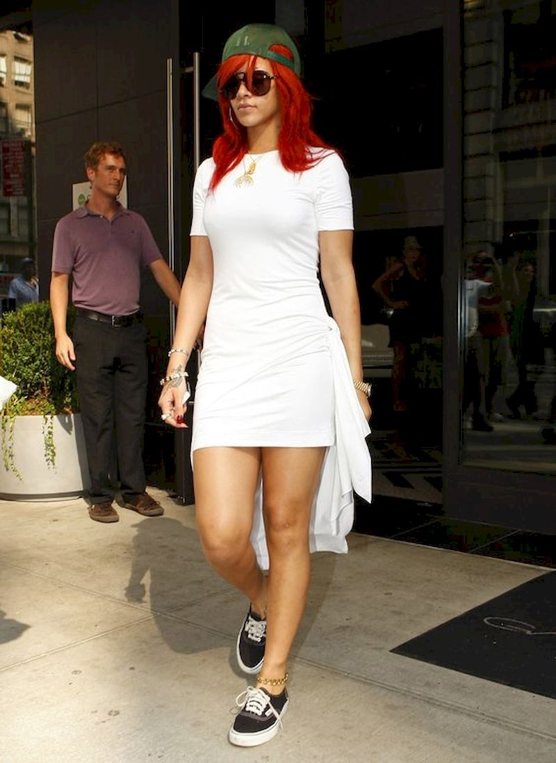 Casual clothes rihanna with white dress