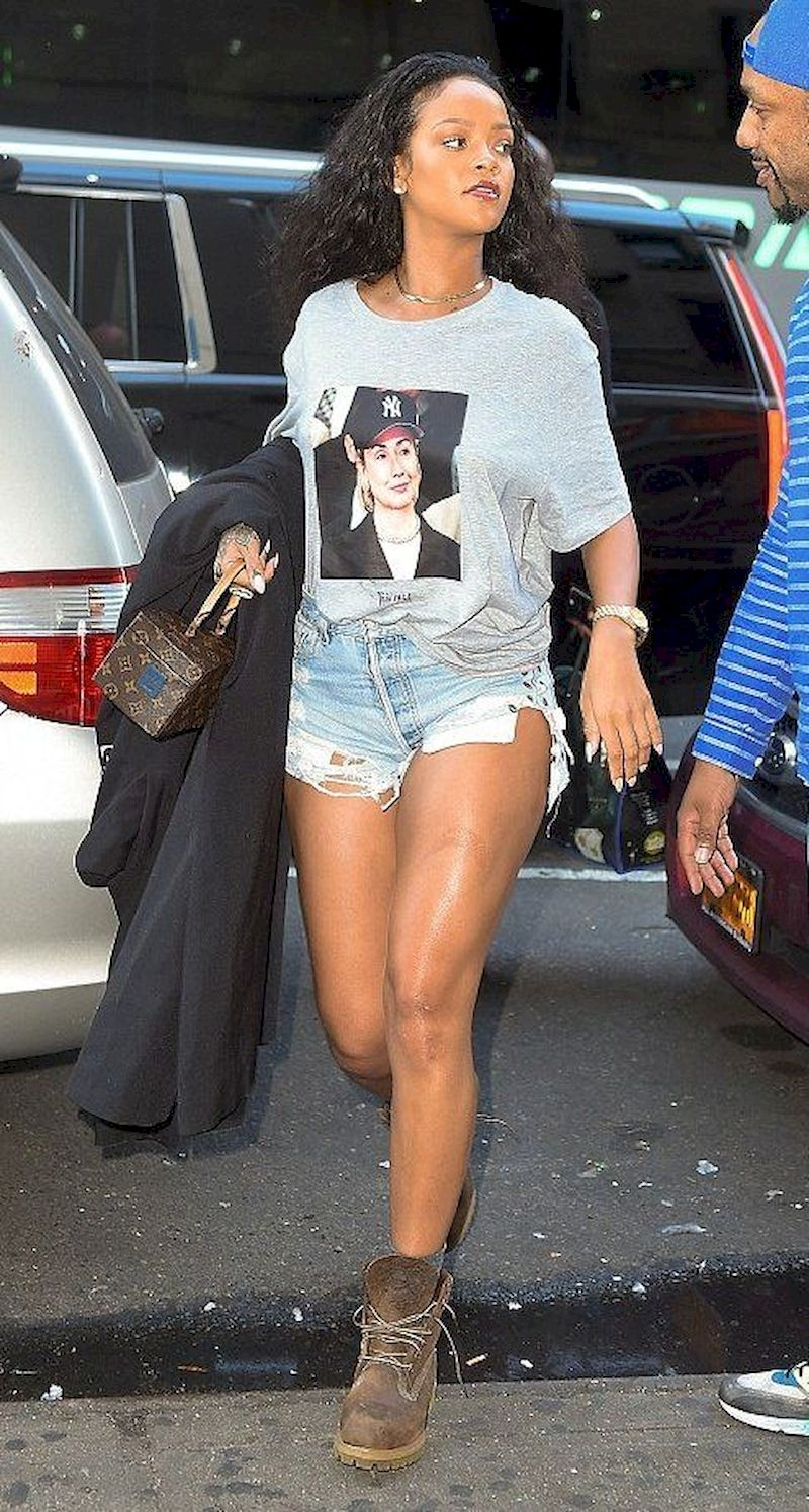 Casual clothes rihanna with white t-shirt and boots
