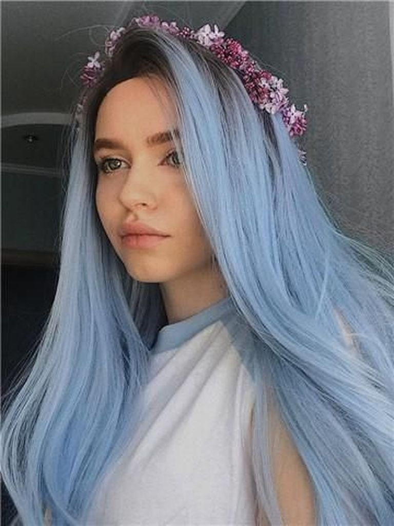 Bright hairstyles with blue sky color
