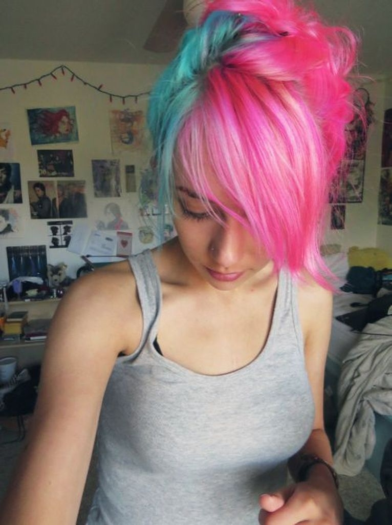 Hairstyles with pink and blue hair color