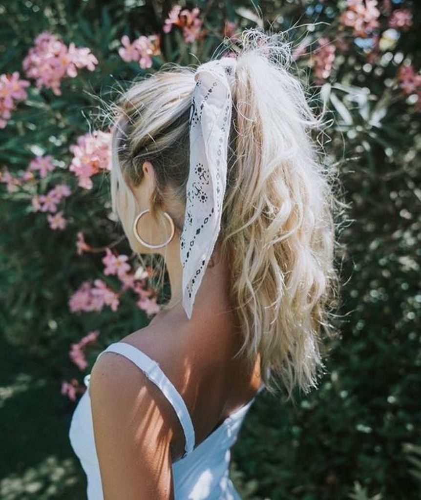 Long white hairstyles with hair scrunchies