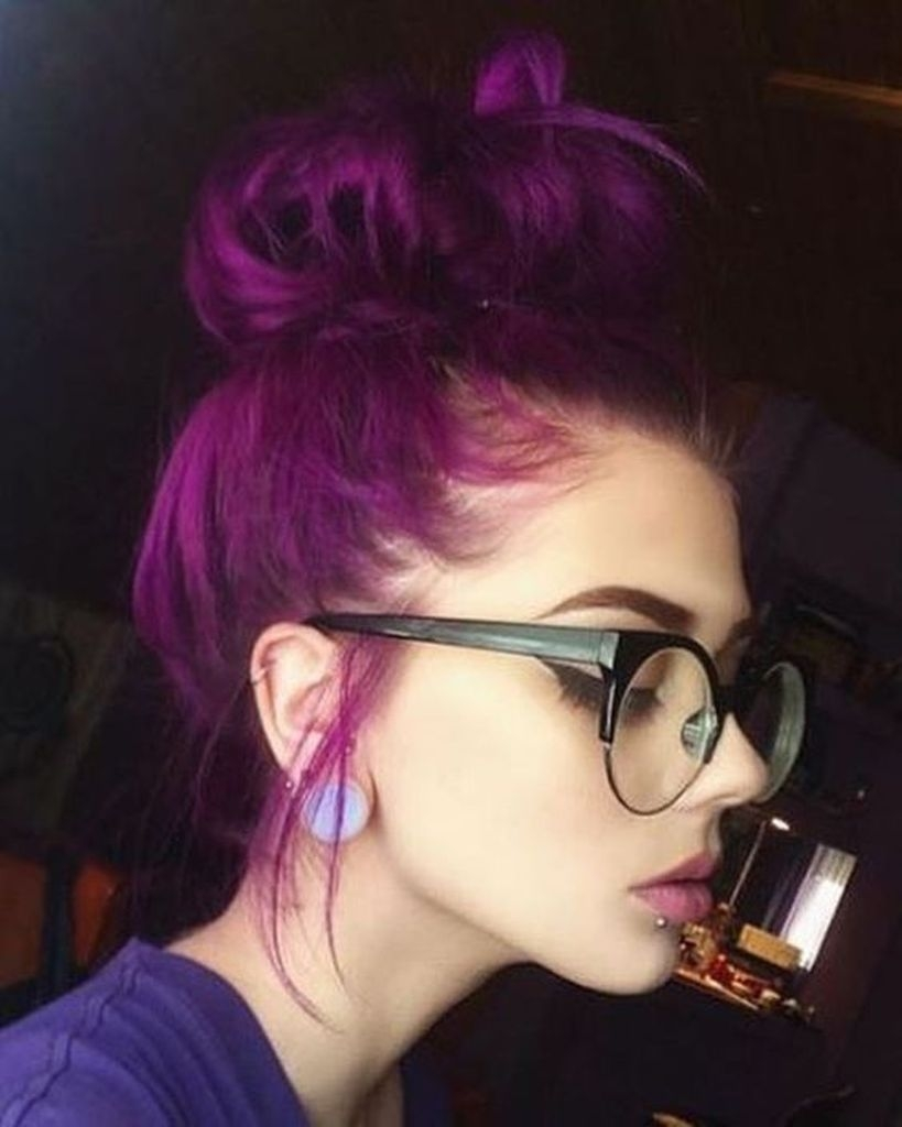 Spring hair for women with purple color