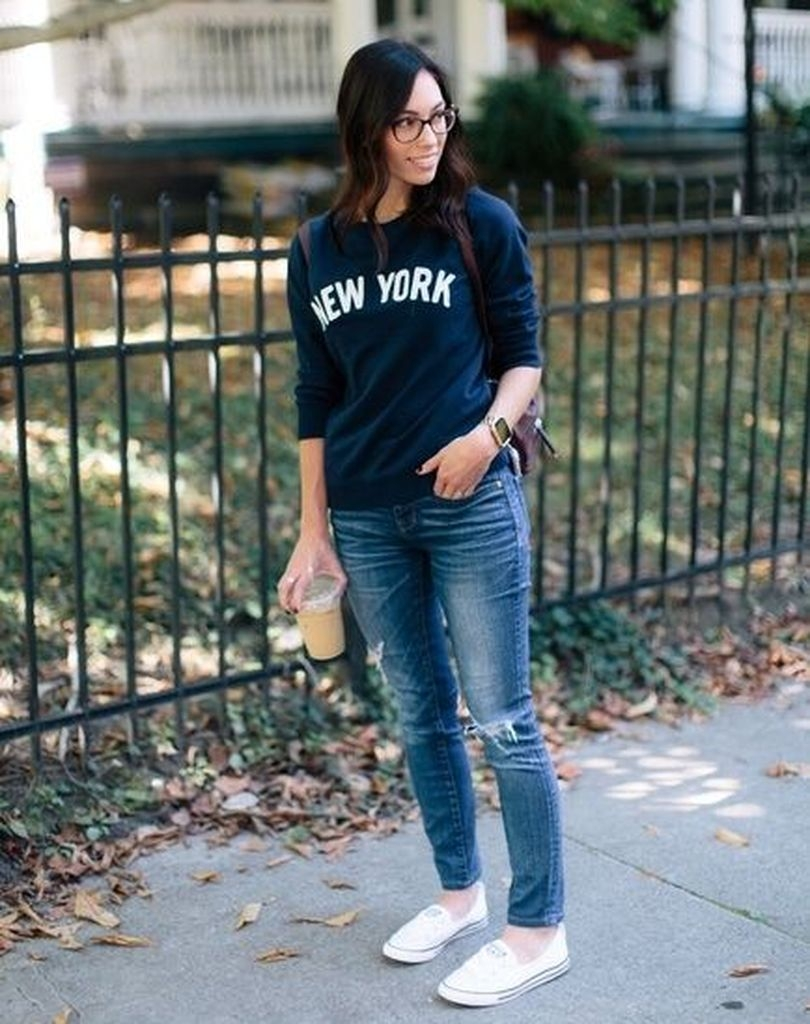 Spring outfit with combination blue sweater and jeans