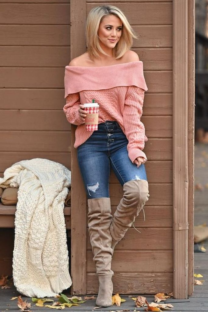 Spring outfit with pink sweater and boot