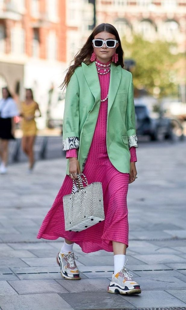 Spring outfit with green coat and pink dress