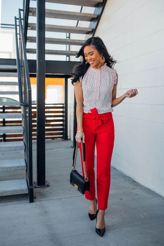 Spring outfit with polka dot blouse and red pant