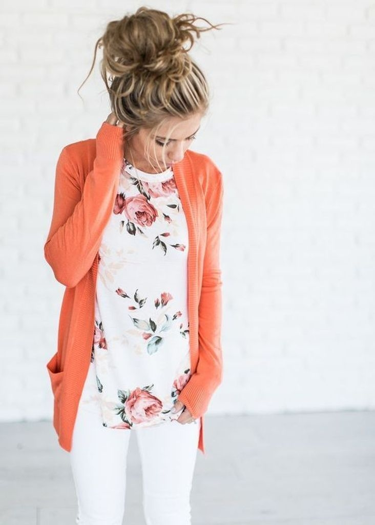 Spring outfit with orange cardigan and floral top