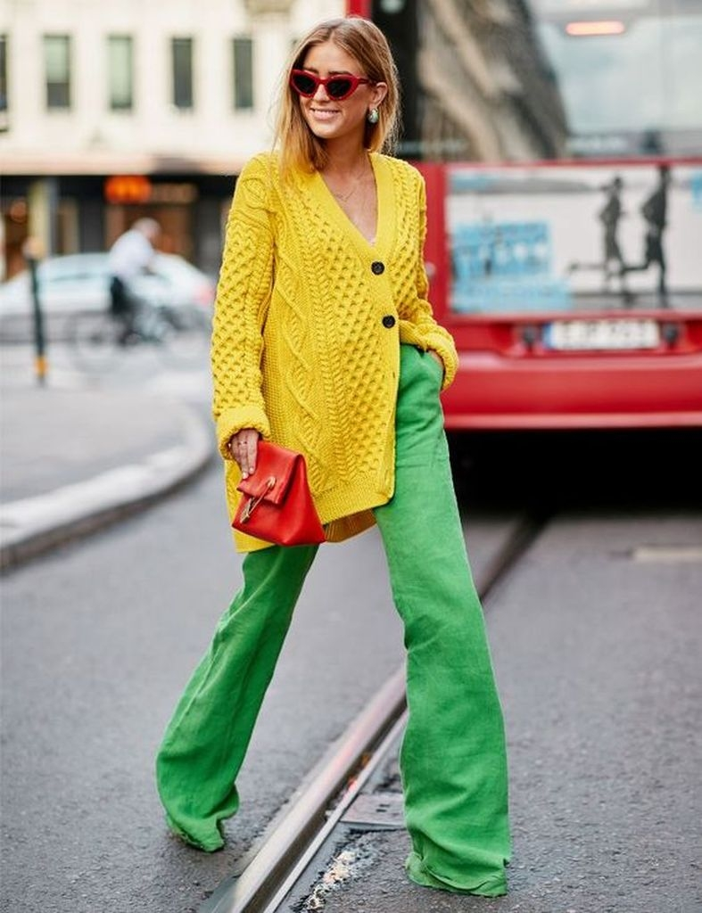 Spring outfit with knit yellow sweater and green pant