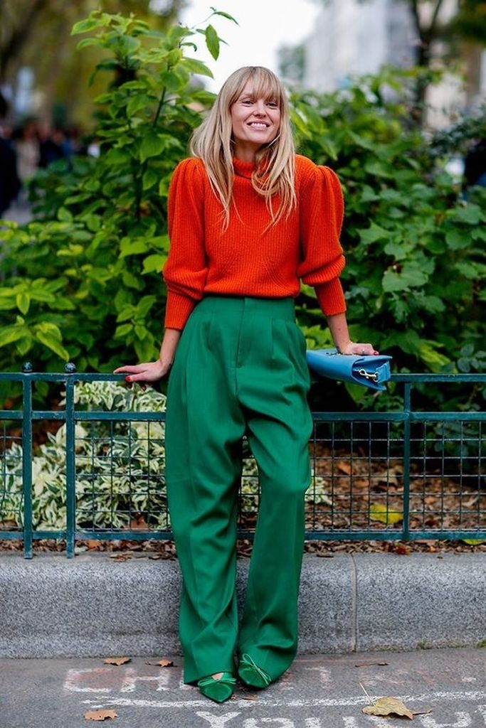 Spring outfit with red sweater and green pant