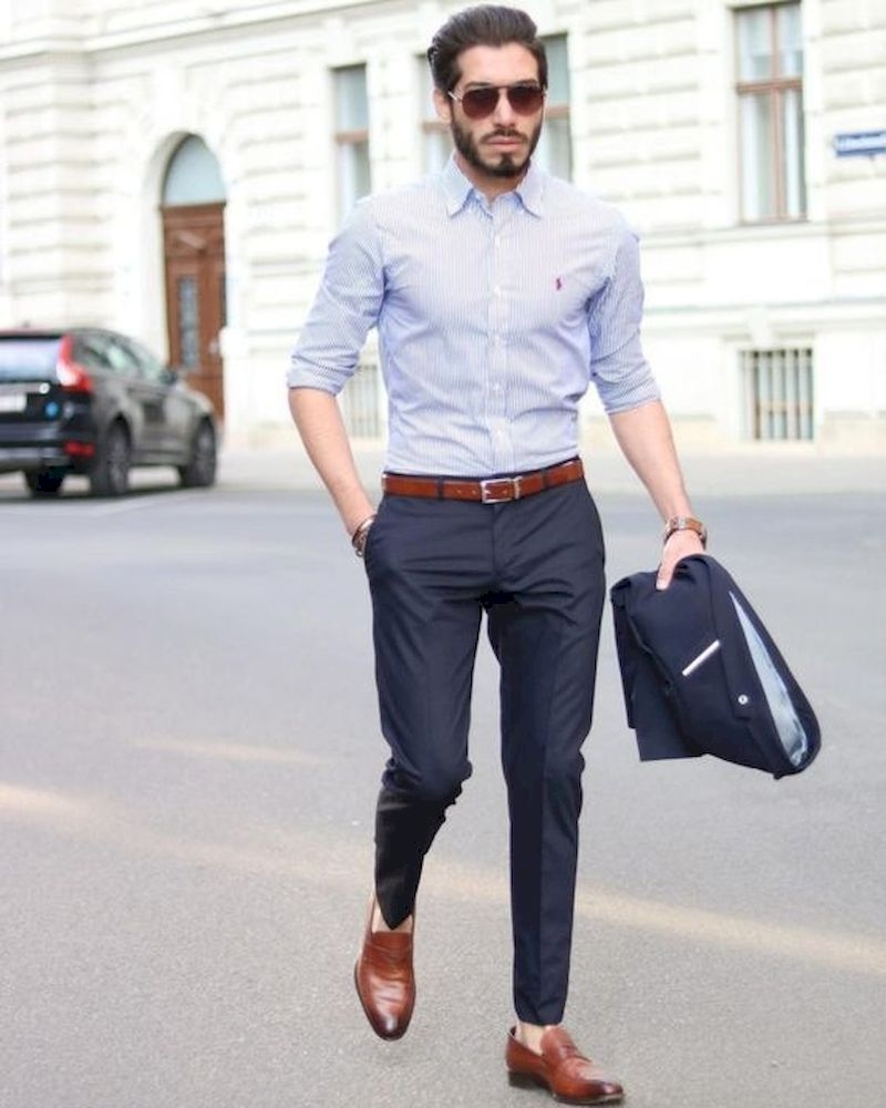 Outfit men with white shirt and leather shoes