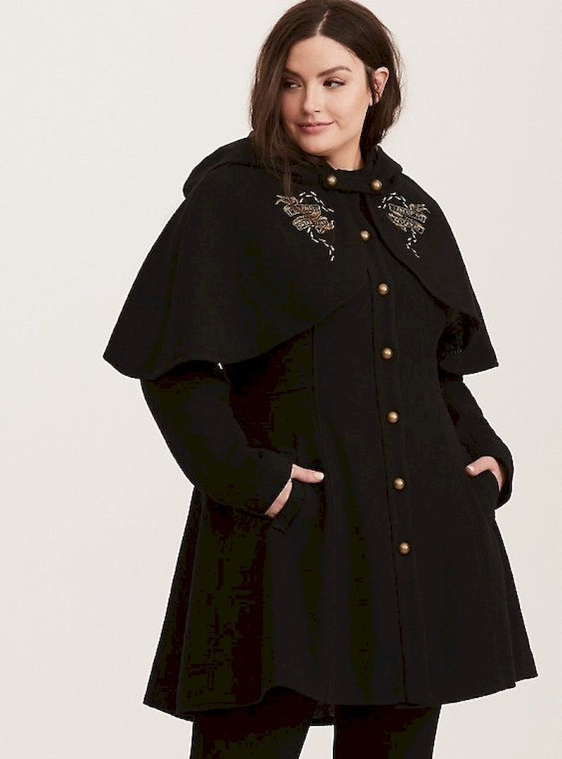 Harry potter embroidered capelet black coat