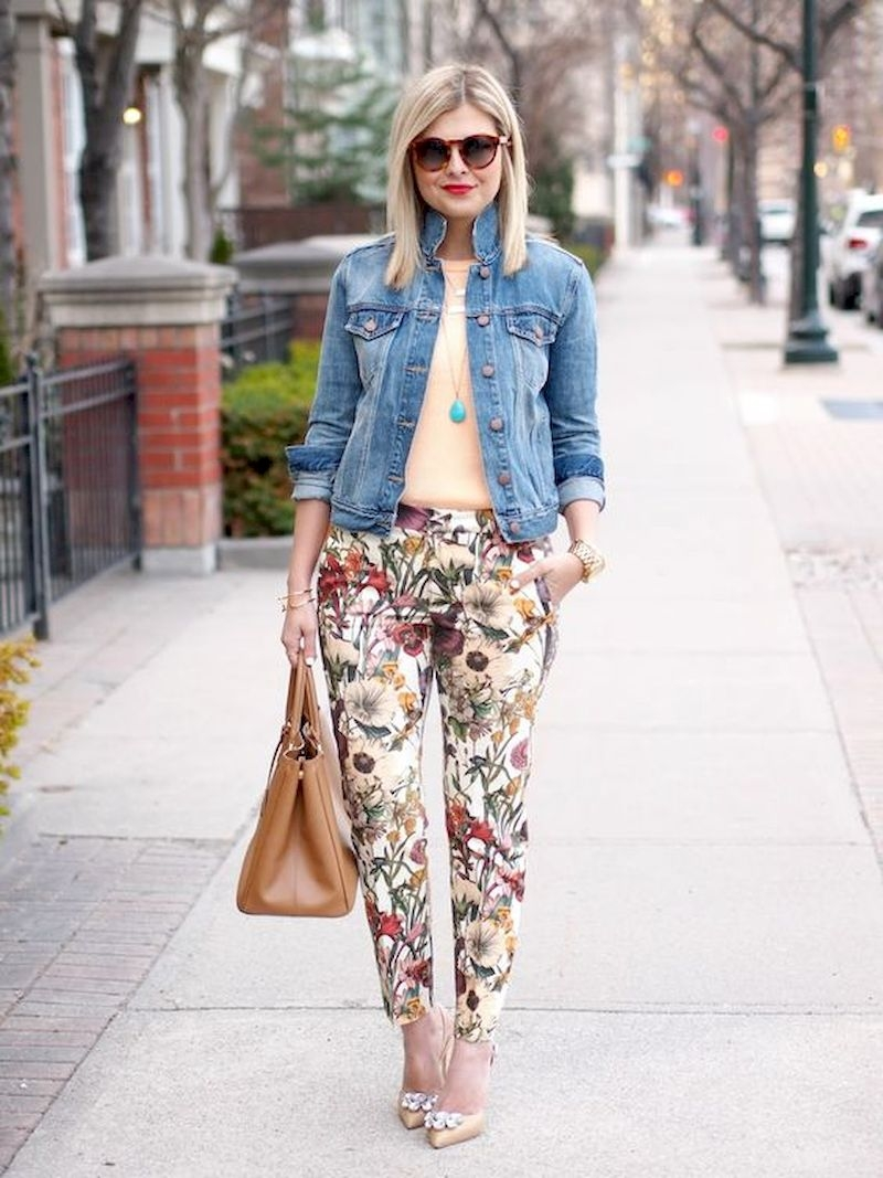 Spring outfit inspiration with floral pant and denim jacket
