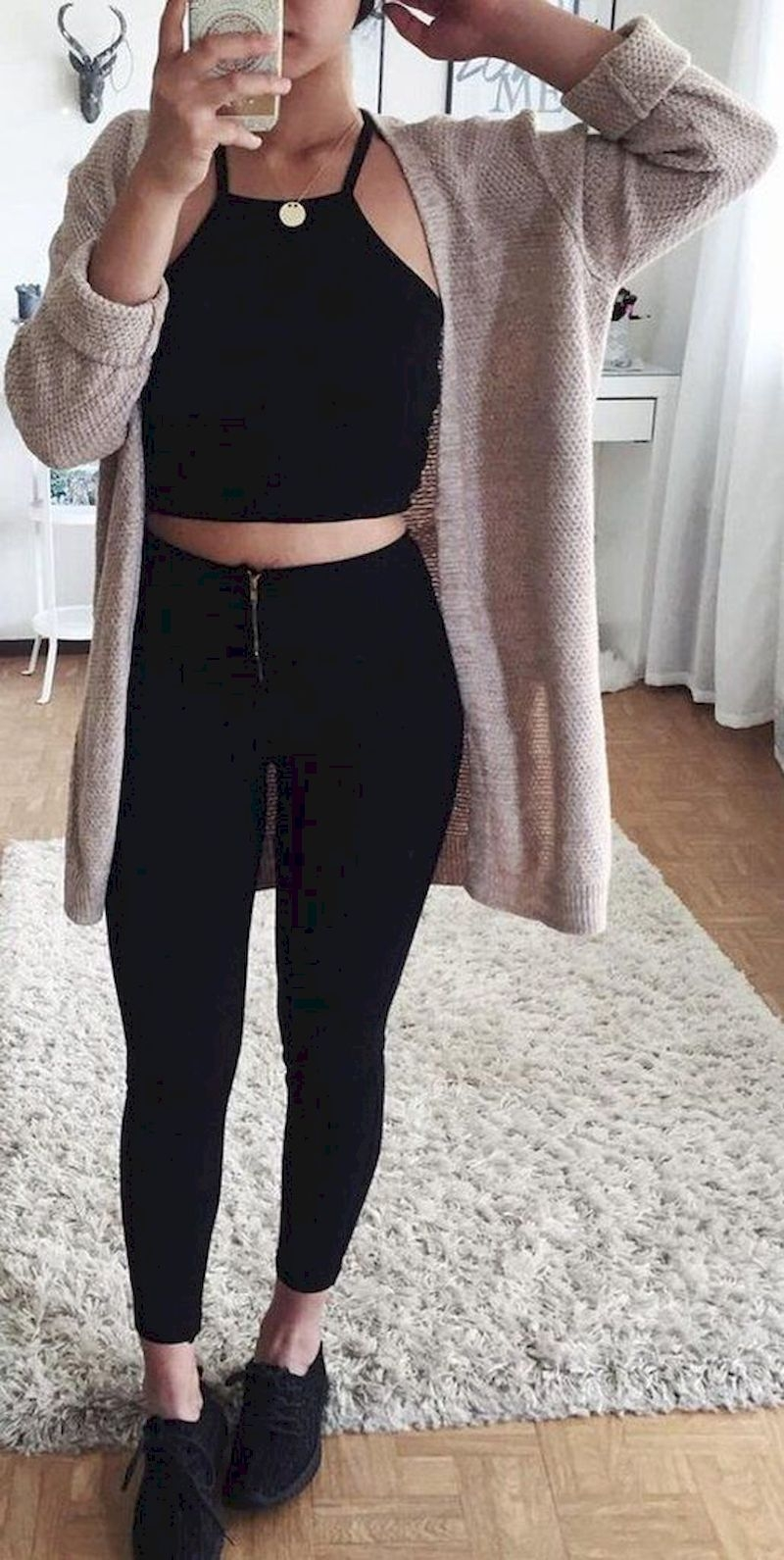 Sporty outfits for school with cardigan and black legging