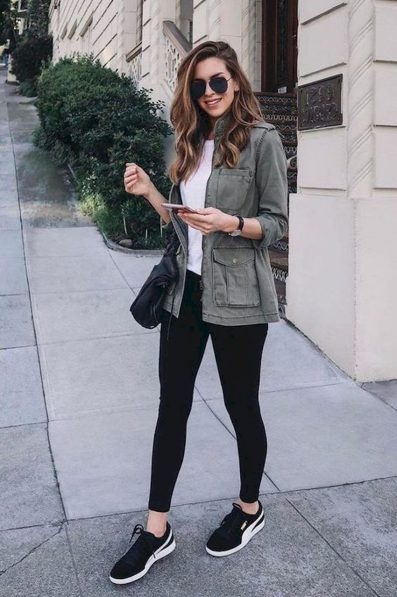 Sporty outfits for school with military jacket and tights
