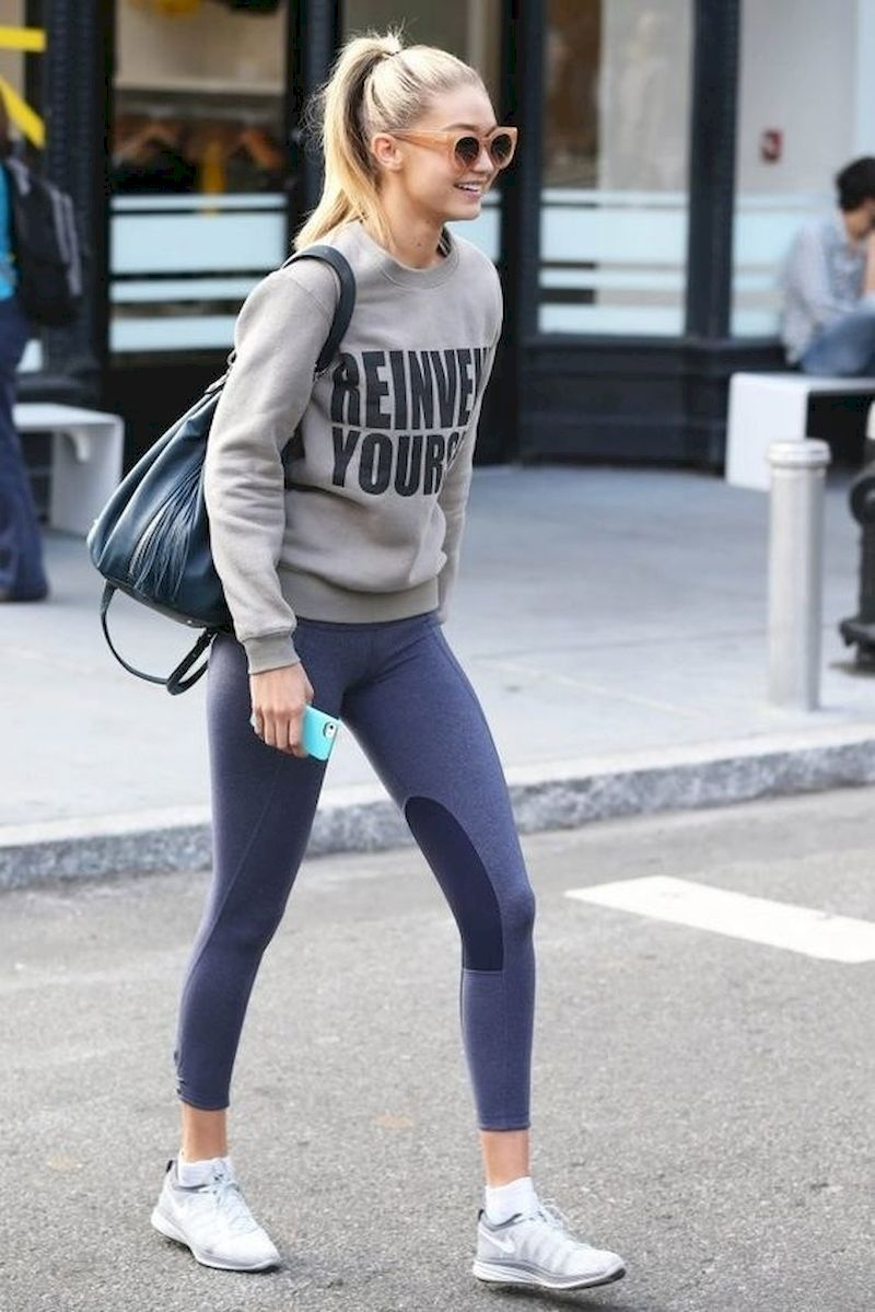 Sporty outfits for school with sweater and legging
