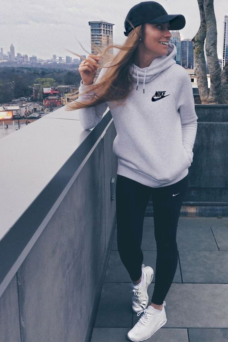 Sporty outfits for school with white sweater